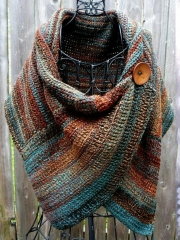 Casual Multicolor Stripes  Round Neck Scarves & Shawls