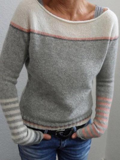 Color-Block Long Sleeve Crew Neck Sweater