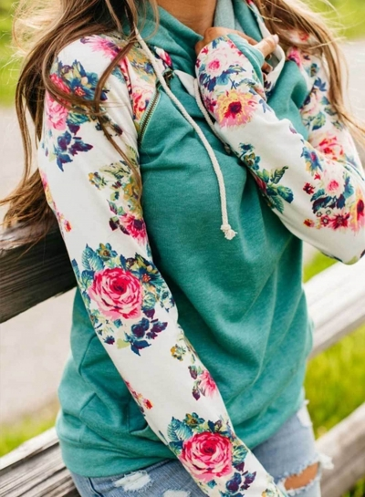 Casual Floral Print Sleeve Pullover Hoodie
