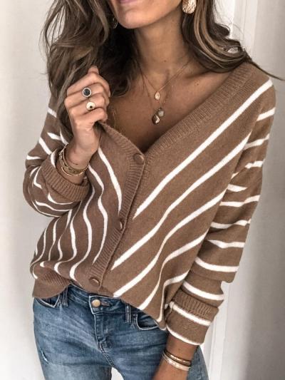 V neck Stripe Long Sleeve Cardigan