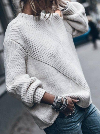 Round Neck Casual Cotton-Blend Sweaters