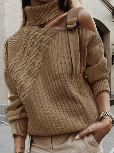 Plus Size Plain Long Sleeve Casual Sweater STYLESIMO.com