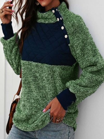 Long Sleeve Shift Stand Collar Sweatshirt