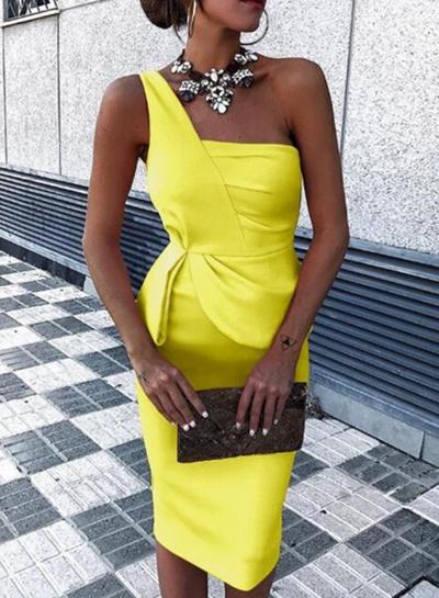 One Shoulder High Waist Solid Color Irregular Bodycon Cocktail Dress