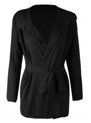 Turn-Down Collar Long Sleeve Solid Color Cardigan Waist Tie Coat