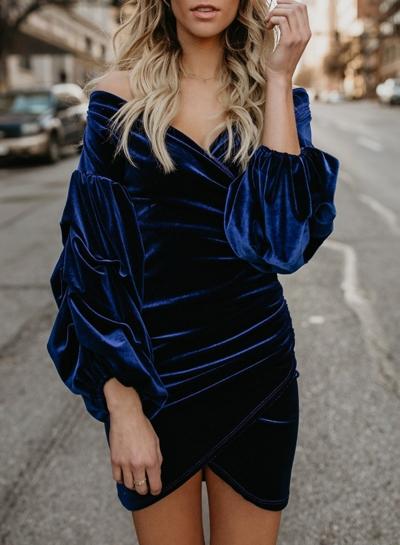 Blue Sexy Off Shoulder Lantern Sleeve Irregular Solid Color Bodycon Mini Dress