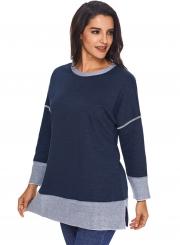Navy Round Neck Long Sleeve Color Block Loose Long Swweatshirt