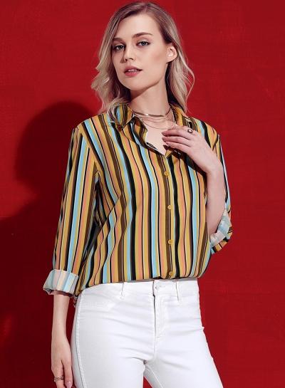 Yellow Striped Long Sleeve Turn-Down Collar Loose Button Down Shirt