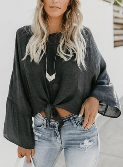 Deep Grey Round Neck Long Sleeve Bow Tie Loose Pullover Blouse