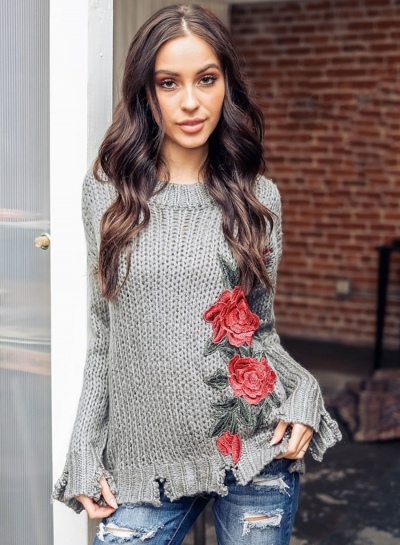 Hand Hook Embroidered Loose Pullover Sweater