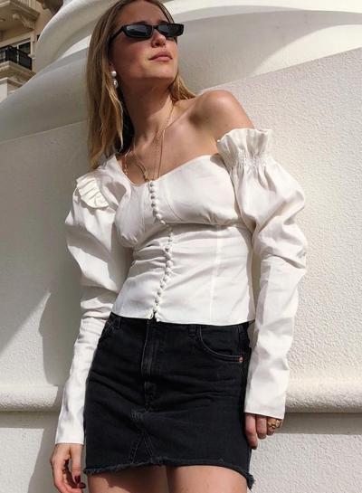 White vintage slanted shoulders irregular shirt