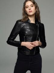 Biker Moto PU Leather Jacket For Women
