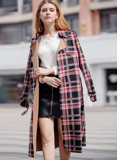 Outwear Classic Red Plaid Suede Trench Coats STYLESIMO.com
