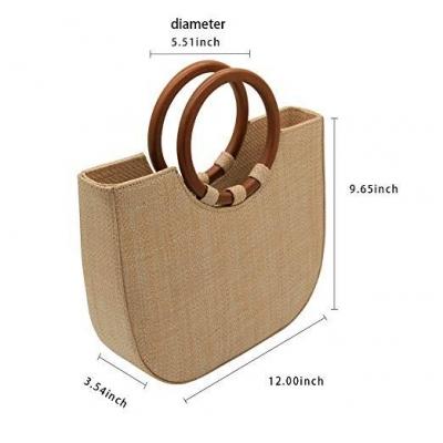Handle Tote Shoulder Handbag with Wood Ring stylesimo.com