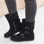 All Season Adjustable Buckle Low Heel Faux Suede Boots