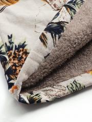 Vintage Leaves Floral Print Hoodie Long Sleeve Coat
