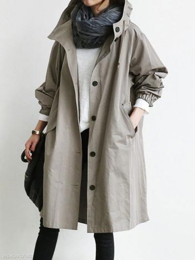 Oversize Hooded Flap Pocket Plain Long-line Coat