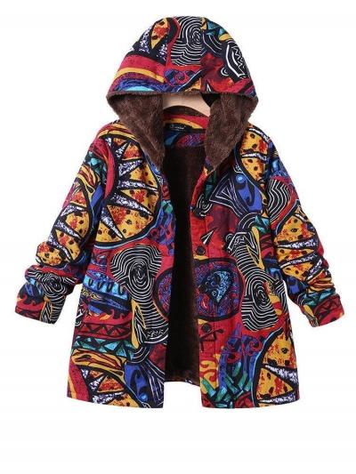 Long Sleeve Hoodie Printed Casual Coat