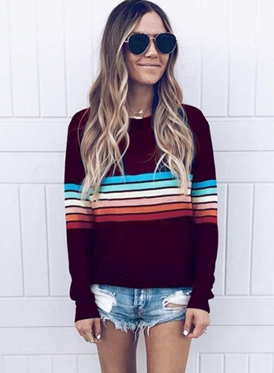 's Casual Top Long Sleeve Rainbow Striped T-shirt stylesimo.com