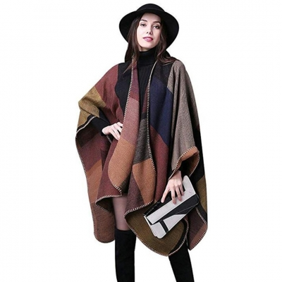 Reversible Oversized Blanket Poncho Cape Shawl Cardigans