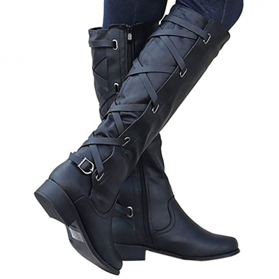 Winter Tall Riding Leather Strappy Flat Boots