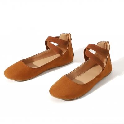 Plain Flat Velvet Ankle Strap Flats stylesimo.com