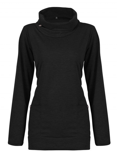 Casual High Neck Long Sleeve Slim Pullover Sweatshirt With Pockets