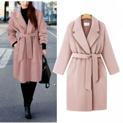 Winter Notched Lapel Knee Length Coat With Belt