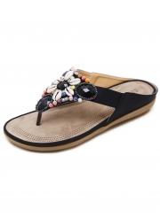 Apricot Fashion Bohemia Beach Thong Flat Women Sandals With String Bead