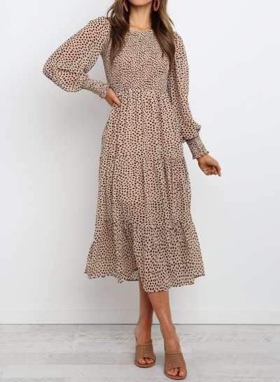Round Neck Long Sleeve Tiered Midi Dress