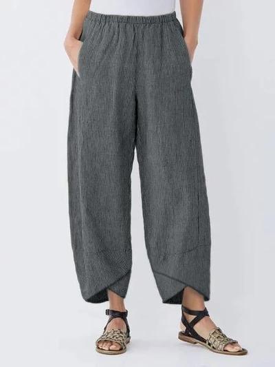 Summer Pockets Striped Casual Capri Pants
