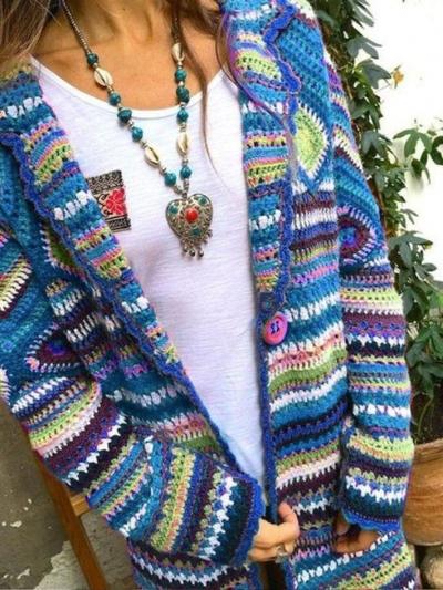 Multicolor Tribal Long Sleeve Sweater stylesimo.com