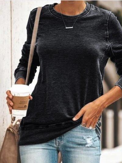 Gray Casual Round Neck Shirts & Tops STYLESIMO.com