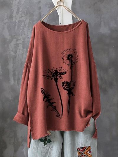 Casual Print Flower Long Sleeve Autumn Shirt