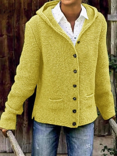 HOODED LONG SLEEVE KNITTED CARDIGAN SWEATER OUTERWEAR STYLESIMO.com