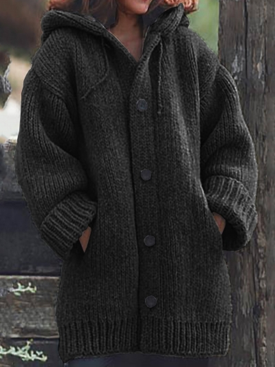 Button Down Hooded Knitted Cardigan Plus Size Outerwear STYLESIMO.com