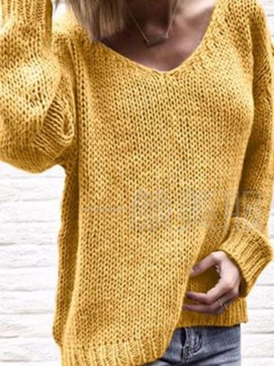 Plain Casual V Neck Knit Wear Women's Winter Soft Sweaters STYLESIMO.com