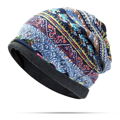 Useful Cotton Print Stripe Beanie Hat Outdoor Windproof For Both Head And Neck Warmer Snow Hat stylesimo.com